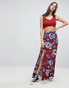 Read more about Glamorous a line skirt - burgundy blue flower