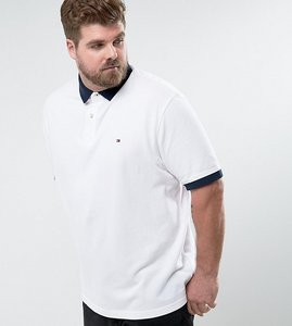 Read more about Tommy hilfiger plus contrast cuff polo logo collar reverse slim fit in white - white