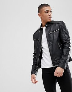 Read more about Barney s originals real leather quilted biker jacket - black