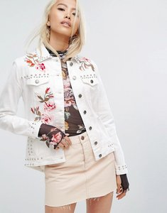 Read more about Arrive embroidered denim jacket with studs - white