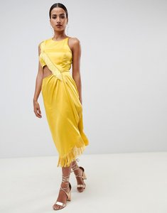 Read more about Asos design cut out side fringe midi dress - gold