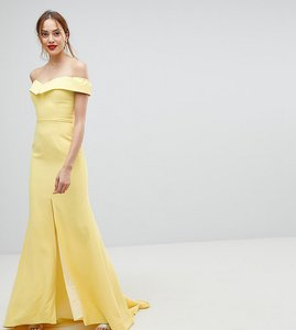 Read more about Jarlo tall bardot maxi dress with thigh split and train detail - lemon