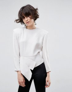 Read more about Asos white asymmetric top with shoulder pads - cream