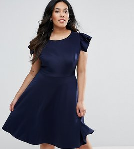 Read more about Club l plus midi skater dress with frill sleeve - navy