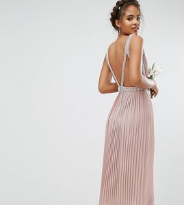 Read more about Tfnc tall wedding embellished open back midi prom skater dress - mauve