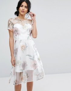Read more about Chi chi london organza midi dress in overscale floral - cream print