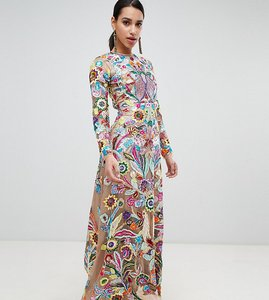 Read more about A star is born premium allover embroidered maxi dress in multi - multi