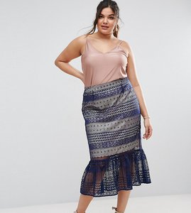 Read more about Asos curve lace pencil skirt with pep hem - navy nude
