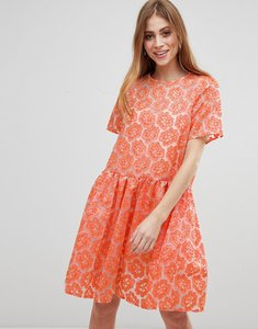Read more about Asos salon embroidered floral organza skater dress - multi