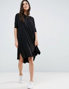 Read more about Asos oversize t-shirt dress with curved hem - black