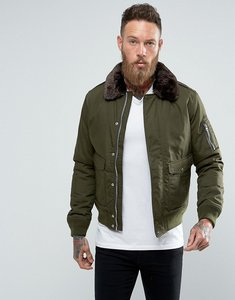 Read more about Schott air bomber jacket detachable faux fur collar slim fit in green brown - dark khaki