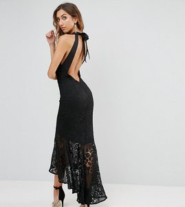 Read more about Jarlo tall allover cutwork lace high low maxi dress with tie neck detail - black