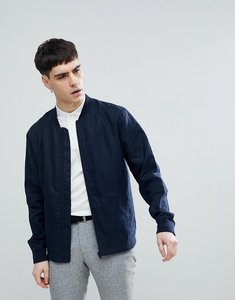Read more about Selected homme linen bomber jacket - dark navy