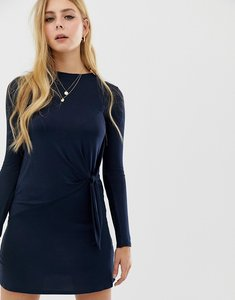 Read more about Brave soul knot detail long sleeve mini dress in navy