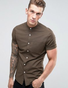 Read more about Asos casual slim oxford shirt with stretch and grandad collar - khaki