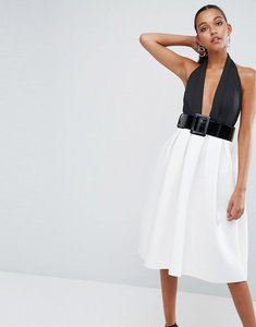 Read more about Asos mono belted halter neck midi prom dress - multi