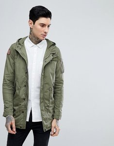 Read more about Schott stanton military lightweight hooded parker jacket with badge in green - khaki