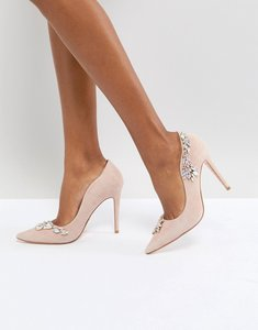 Read more about Dune london bridal bestowed pink suede court shoe with irredesent beading - blush suede