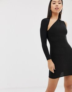 Read more about Club l london one shoulder bodycon dress in black