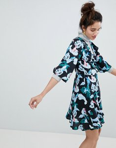 Read more about Monki tropical bird print wrap mini dress - tropical bird
