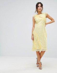 Read more about Warehouse eyelash lace frill dress - lemon