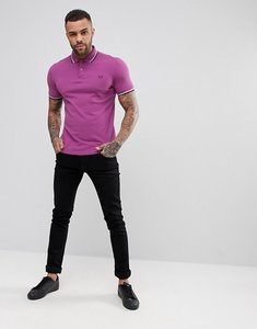 Read more about Fred perry slim fit twin tipped polo shirt in lilac - 889