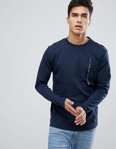 Read more about Only sons sweatshirt with pocket branding - dark sapphire