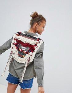 Read more about Bershka pompom cargo jacket in khaki - khaki