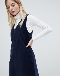 Read more about Noisy may corduroy pinafore dress - navy
