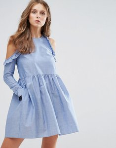 Read more about Nobody s child cold shoulder smock dress with ruffle trim in chambray - chambray