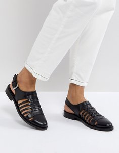 Read more about Asos marylebone leather woven flat shoes - black