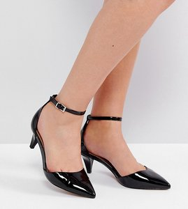 Read more about Asos soda pop wide fit kitten heels - black patent