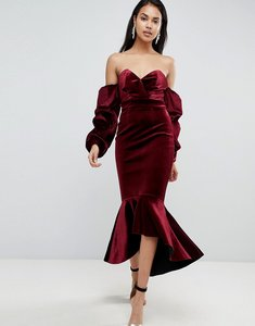 Read more about Asos premium velvet bardot bodycon pephem midi dress - burgundy