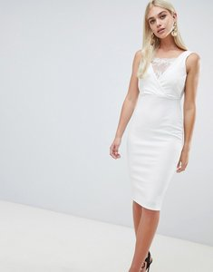 Read more about Outrageous fortune bodycon dress with lace inserts in ivory - ivory