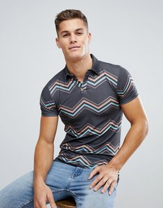 Read more about Asos muscle polo zig zag stripe with revere collar - black