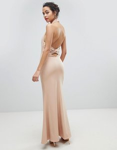 Read more about Jarlo high neck ruched open back maxi dress - nude