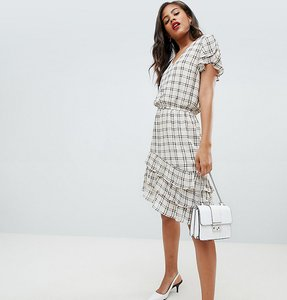 Read more about Y a s tall sachecky skater dress - cream check
