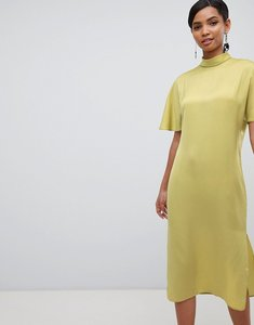 Read more about Asos design high neck matte satin midi dress - chartreuse
