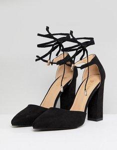 Read more about Raid pamela black ankle tie block heeled shoes - black