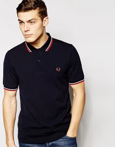 Read more about Fred perry slim fit twin tipped polo shirt in navy - navy