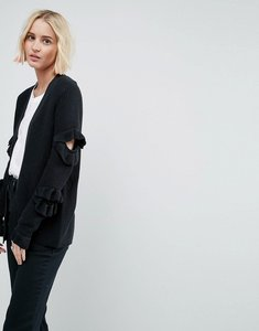 Read more about Asos cardigan with ruffle sleeve detail - black