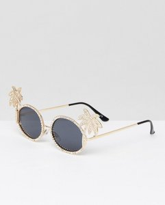 Read more about Asos embellished palm tree diamonte oval sunglasses - gold