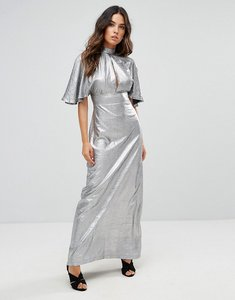 Read more about Liquorish gun metal maxi dress with cut out front - gun metal