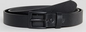 Read more about Asos plus smart slim belt with cross stitch emboss in black faux leather - black