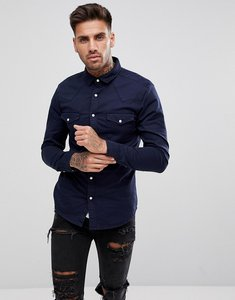 Read more about Asos skinny denim western shirt in navy - navy
