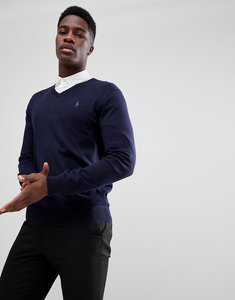 Read more about Polo ralph lauren pima cotton knit jumper v-neck polo player in navy - navy