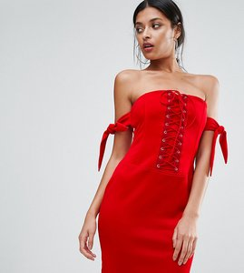 Read more about Club l bandeau detailed lace up detail dress - red