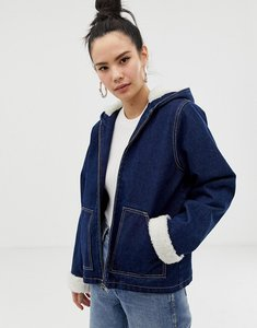 Read more about Asos design denim jacket with hood with borg lining - blue