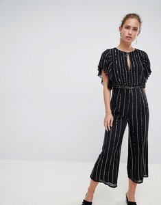 Read more about Miss selfridge jumpsuit in glitter stripe and angel sleeve - black
