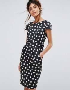 Read more about Closet london cap sleeve midi dress with pocket detail in spot - multi